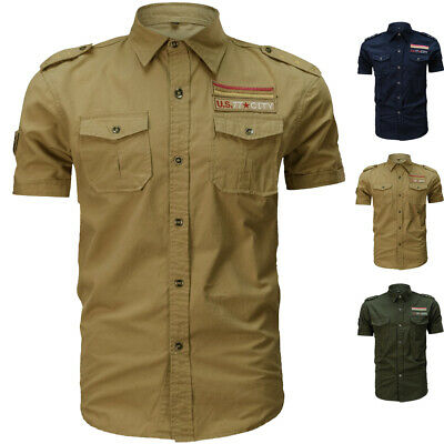 Men's Casual Short Dress Shirts Miliatry Army Work Button Up Double Pockets