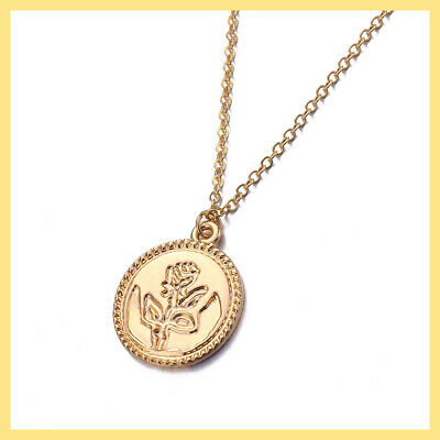New Fashion Vintage Gold Rose Flower Necklace Women Chain Pendant Chunky Charm