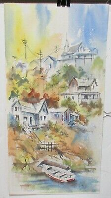 Lorraine Fiege Church On The Hill Original Watercolor Painting