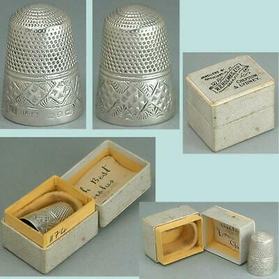 Antique English Sterling Silver Thimble in Jewelers Box * Hallmarked 1890