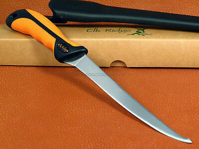 "ELK RIDGE Fixed Blade Double Edge Fish Fillet Knife Orange w Sheath 12.5"" New"