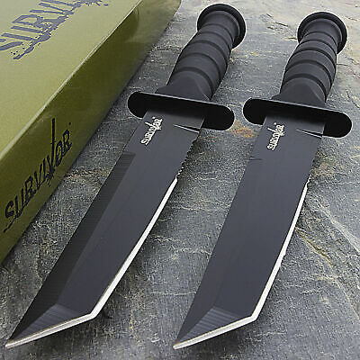 """Two 7.5"""" MILITARY TACTICAL TANTO COMBAT KNIFE w/ SHEATH Survival Hunting New"""