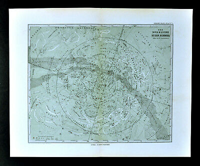1892 Stieler Map North Sky Star Chart Sirius Polaris Cassiopeia Zodiac Astrology