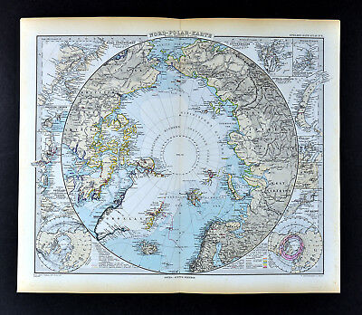 1892 Stieler World Map - North Pole Arctic Ocean Greenland Canada Siberia Alaska