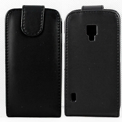 Luxury Black Flip Leather Phone Pouch Cover Case Fit For LG P715 Optimus L7 II