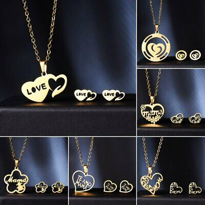Mother's Day Best Gift Gold Stainless Steel Women Necklace Earrings Jewelry Set