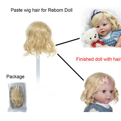 Blonde Paste Wig Hair Fits for 28inch Reborn Toddlers 48cm Head Circumference