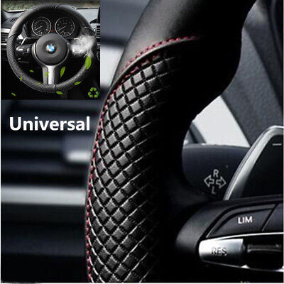 Car Steering Wheel Cover Black & Red Stitching Microfiber Leather 38cm Universal