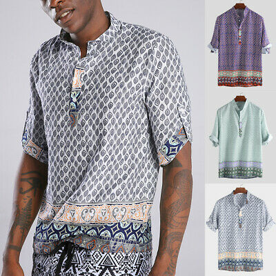 Mens Short Sleeve T-Shirts Hippy Festival Blouse Summer Beach Holiday Party Tops