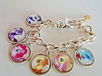 My Little Pony All 6 Pony Charms Silver Bracelet,Bangle Age 2 To 4 Year,Gift Box
