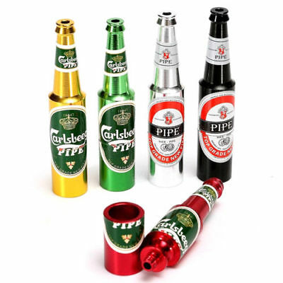 Beer Bottle Pipe Smoking Tobacco Herb Metal Aluminum Portable Small Pocket Size*