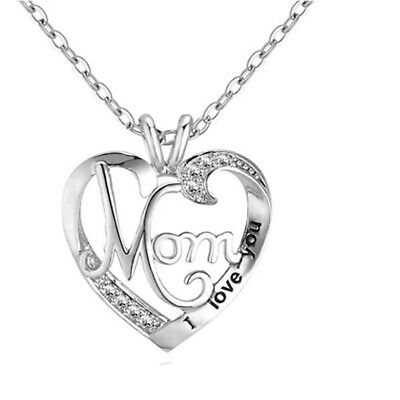 Mothers Day Gift MOM Word Engraved Imitation Crystal Heart Love Pendant Necklace
