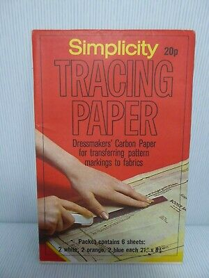Simplicity Tracing Paper Unused Dressmakers Carbon Paper  Vintage 6 Sheets