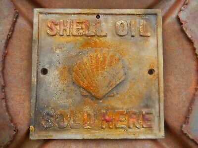 VTG Shell Oil Co CAST IRON Lubster Heavy Plate Sign Gas Service Station Garage