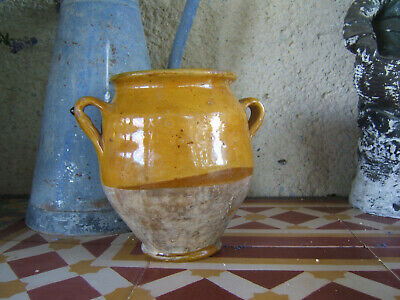 "ANTIQUE SMALL FRENCH MUSTARD GLAZED CONFIT POT POTTERY SOUTHWESTERN 6""69 ca1850"
