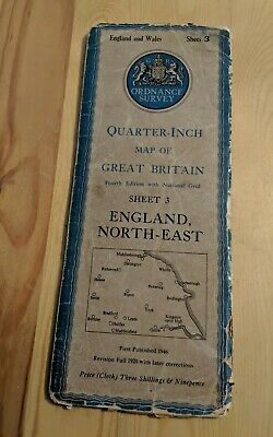 Ordnance Survey Quarter Inch Fold Out Cloth Map Sheet 3 England North East