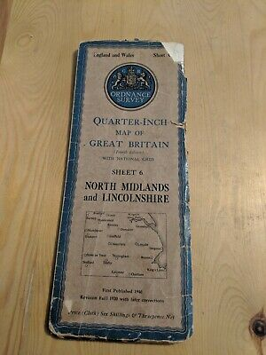 "Ordnance Survey Quarter "" Fold Out Cloth Map Sheet 6 North Midlands Lincolnshire"