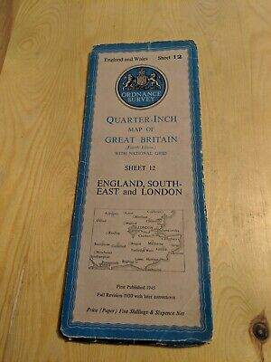 Vintage ORDNANCE SURVEY QUARTER INCH FOLD OUT PAPER MAP SHEET 12 ENG SE LONDON
