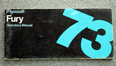1973 PLYMOUTH FURY Operators Manual OWNER'S Guide CHRYSLER Car AUTO Cars AUTOS