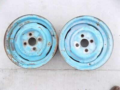 14 X 4-1/2 Pair Steel Ford Wheels 4 on 4 Falcon Mustang Comet on 63 64 65 66 67
