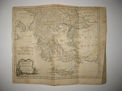 Superb Antique 1792 Ancient Greece Copperplate Map Crete Islands Fine Are Nr