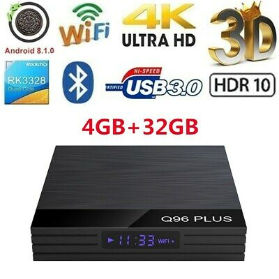Q96 PLUS Android 8.1 TV BOX Quad Core USB 3.0 BT WiFi 4K 3D Movies 4GB+32GB K1Z7