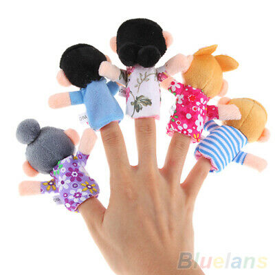 6Pcs Baby Kid Plush Cloth Play Game Learn Story Family Finger Puppets Toys NEW