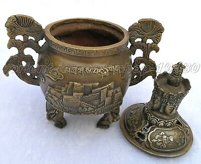 Chinese Archaic Bronze Majestic Incense Burner Old Statue Censer 15cm