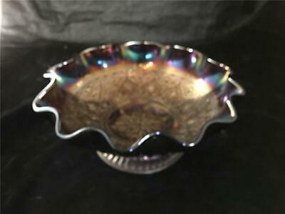 "Fenton Amethyst Carnival Footed 10"" Bowl Hearts & Flowers"