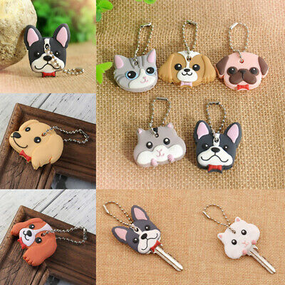 Cute Puppy Pug Cat Rabbit Pet Key Cover PVC Cap Keychain Key Case Decor Gift Acc
