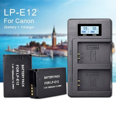 2x LP-E12 battery + LCD USB Dual Battery Charger for Canon EOS M10 M50 M100