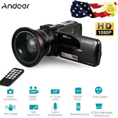 Full HD 1080P 24MP Digital Video Camera Camcorder + 0.39X Wide Angle +Macro Lens