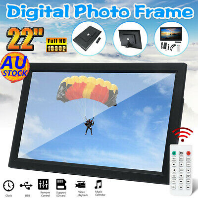 22'' 1080P HD LED Electronic Digital Photo Frame Picture MP4 Movie Player Remote