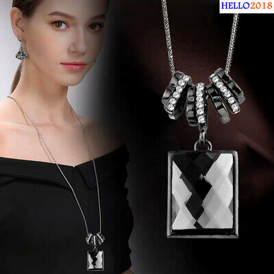 Antique Big Square Black Cubic Zirconia Pendant Necklaces For Women Jewelry