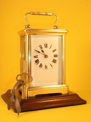 Classic antique brass carriage clock & key. Restored and serviced May 2019