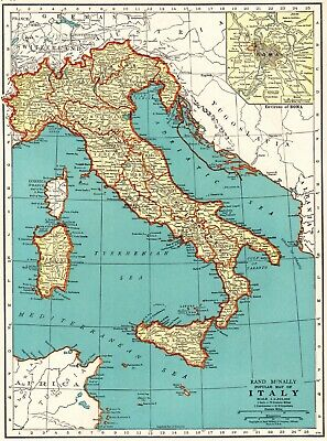 1937 Antique MAP of ITALY Original Vintage Italy Map Gallery Wall Art 6598