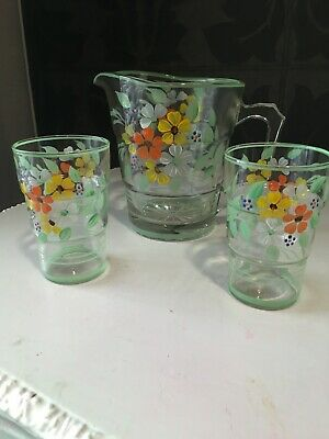 VINTAGE GLASS WATER JUG HAND PAINTED FLOWERS, + 2 Glasses , 1940-50's Green