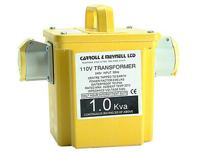 Carroll & Meynell - 1000/2 Transformer Twin Outlet  Rating 1Kva Continuous 500va
