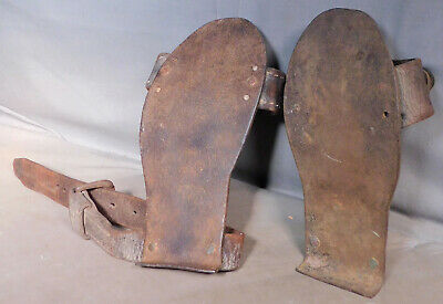 Antique Blacksmith Wrought Iron Copper Leather Ice Shoes Creepers Folk Art 1800s