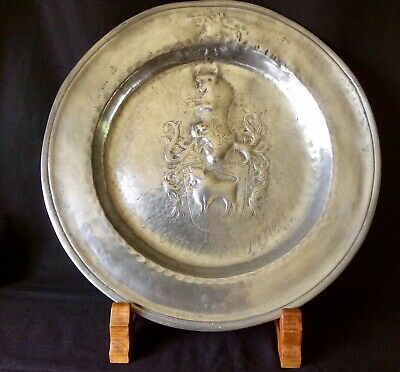 Antique Pewter Charger Embossed With Bulls, Inscribed Stema Ravanell. 38cm Diam.