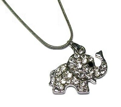 Silver Baby Elephant Crystal Diamante Necklace Pendant Chain Women Girls Dress