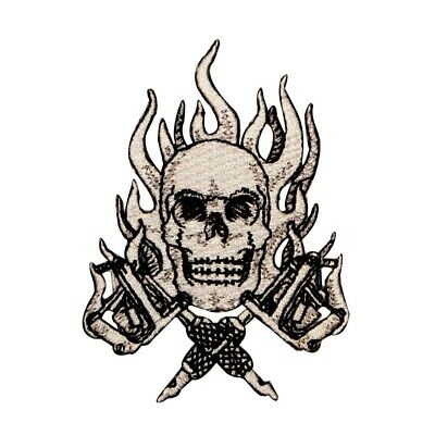 RED FLAME SKULL PATCH SFRB-496 FLAMING SKULL APPLIQUE