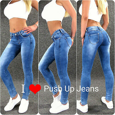 Push Up Stretch Jeans XS S M L XL 2XL 3XL 4XL Zazou sexy Damen Skinny Hose M1864