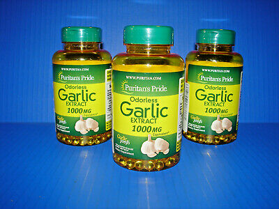 3 PACK Puritan's Pride ODORLESS Garlic Extract 100 Softgels 1000 mg *NEW* ^^^