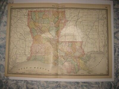 Fine Large Antique 1885 Louisiana New Orleans Map Railroad Detailed Rare Nr