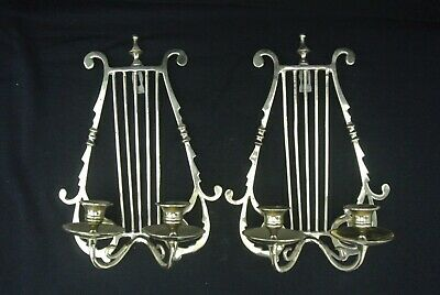 Vintage Pair of Antique Solid Brass Wall Sconces Candlesticks Lyre Harp Design