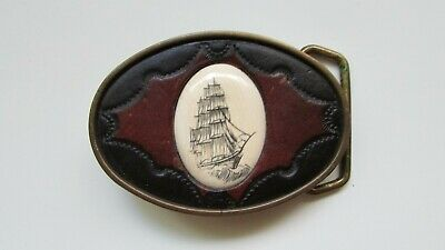 "Vintage BTS Scrimshaw Barkentine Bone, Brass & Leather 3""x2.25"" Belt Buckle MINT"