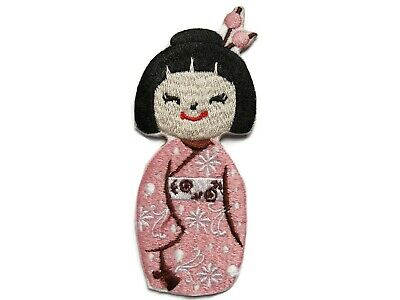 Japanese Asian Geisha Doll Pink Embroidered Iron On Patch Applique 3.75 Inches