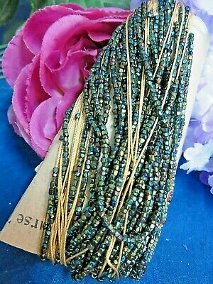 LOT of ANTIQUE BEADS 100's IRIDESCENT Glass seed beads CARNIVAL glass bead c1920