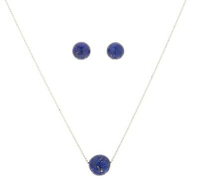 """Sterling Silver Lapis Bead 18"""" Necklace & Pierced Earrings Boxed Set Qvc"""